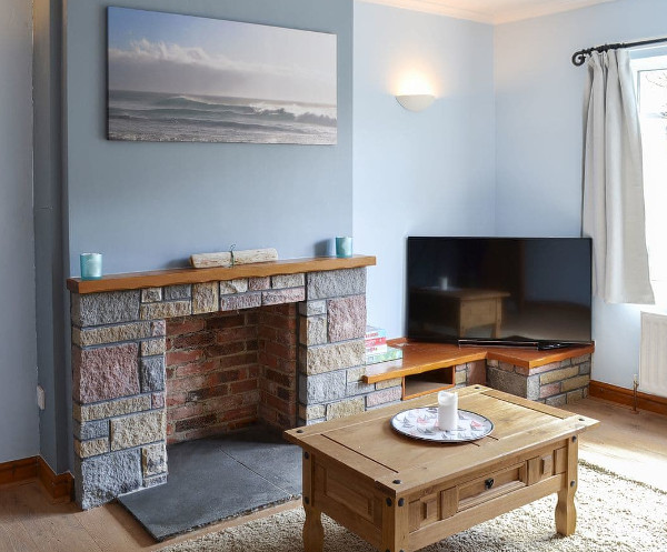 The living room at Bramble Cottage in Craster