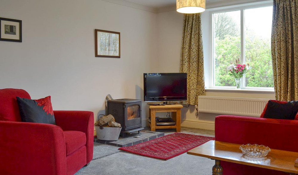 The living room at Bush Green Cottage near Barrow-in-Furness has a wood burning stove