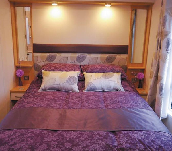 A bedroom in one of the lodges at Grand Eagles Lodges, Nether Coul