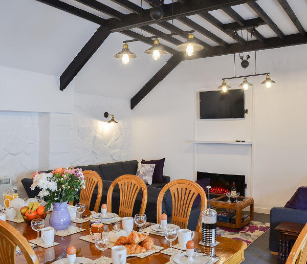 The living room and dining area at Kingfisher, Maesydderwen Holiday Cottages