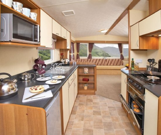 Inside one of the caravans at Maesmawr Farm Resort, Caersws