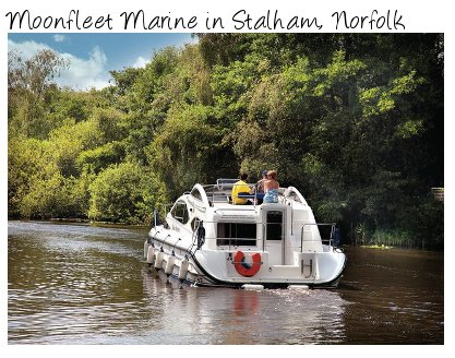 Moonfleet Marine is a boat-yard on the Norfolk Broads, located in Stalham. Cruisers sleep 2 to 8 people