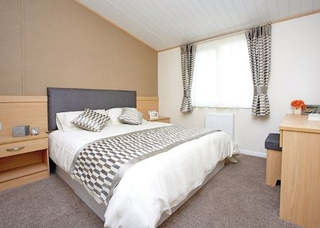 One of the bedrooms in a lodge at Riverview Country Park