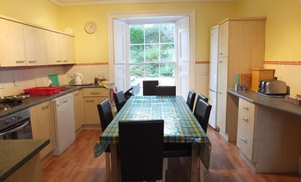 The kitchen and dining area at White House in Tenby