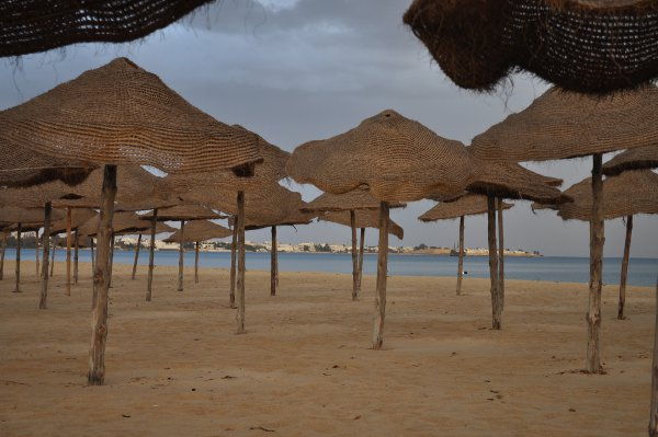 Shade on the beach in front of Riu Marhaba Palace Hammamet